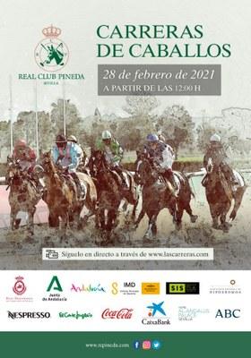 Cartel anunciador de la jornada de carreras de caballos en Pineda del 28 de febrero de 2021.