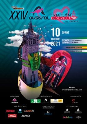 Cartel del XXIV Triatlón de Sevilla 2021