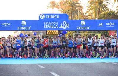 Salida del Maratón de Sevilla 2020.